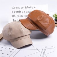 Wholesale leather hats for women resale online - Women Leather Berets Hat French Artist Beret Hat Black Berets Autumn Winter Korean Style Solid Caps For Women