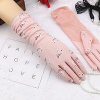 Wholesale hand cotton gloves resale online - Female Summer Medium Long Cotton Gloves Women Short Driving Sunscreen Luvas Guantes Anti skid Touch Screen Thin Hand Muff H3106