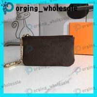 Wholesale small long beads resale online - zipper short wallets key pouch Coin Purse leather holds high quality fashion classical women key holder small leather Key Wallets LA