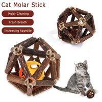 Wholesale cats grass resale online - Wooden Cat Grass Cats Clean Ball Hair Hairy Cat Toys Mint Natural Teeth Catnip Pet Snacks Hairball Control Ball Ball Play Spit bbyVxf