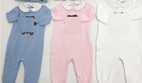 Wholesale baby bear clothes for sale - Group buy F Baby BEAR KNNIT Long Sleeves Jumpsuits Fall Kids Boutique Clothing Little Gentleman Bodysuits Newborn Boys Cartoon Jumpsuits