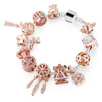 Wholesale unique beads for bracelets for sale - Group buy Women Bracelet Unique Rose Gold Crystal Charm Bracelet For Women DIY Beads Bangle Jewelry Gift