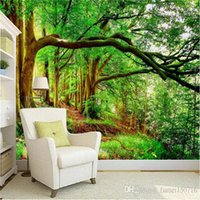 Wholesale wall painting trees photo resale online - Custom Any Size D Wall Mural Wallpaper Non woven Green Forest Trees Photo Background Photography Art Painting Decals Wall Paper