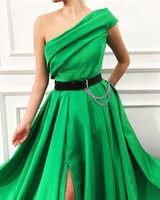 Wholesale dress simply for sale - Group buy New Simply Satin A Line Long Evening Dress Pleat Split One Shoulder Floor Length Evening Dresses Formal Party Gowns