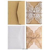 Wholesale invitations paper envelope for sale - Group buy 10pcs set Hollow Lace Wedding Party Invitation Cards With Kraft Paper Inner Sheet Envelopes Rope