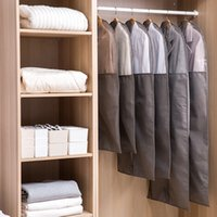 Wholesale fabric dust covers for clothes for sale - Group buy Clothes Dust proof Cover Non woven Fabric Case for Household Hanging type Coat Protect Storage Bag Wardrobe Organizer