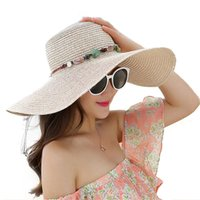 Wholesale hands made hat resale online - 2020 Hot women big brim sun hats foldable colorful stone hand made straw hat female summer hat casual shade cap beach