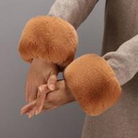 Wholesale wrist fur cuff resale online - Winter Warm Wristbands One Pair Faux Fur Oversleeve Cuff Women s Parkas Fur Wrist Gloves Sleeve Cuff Cover Mittens