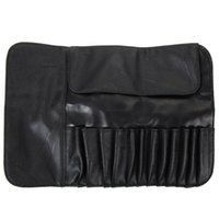 Wholesale rolling makeup case for sale - Group buy 12 Slots Cosmetic Makeup Brushes Case Holder Roll Bag high quality black faux leather Pouch for Standard length Brush Kit
