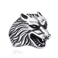 Wholesale stainless steel wolf rings resale online - stainless steel punk wolf ring personality fashion men jewelry