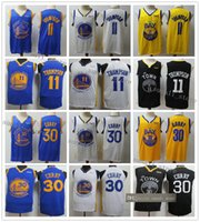 curry amarillo negro al por mayor-Cosido hombre Stephen Curry 30 jerseys Klay Thompson 11 23 Draymond verde Baloncesto 2020 Nueva Negro Amarillo Azul Blanco camisas