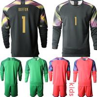 Wholesale italy buffon goalkeeper jersey resale online - Custom European Cup Italy goalkeeper buffon Kids Football Kits Long Sleeve Soccer Jerseys camisa de futebol Clothes Boys