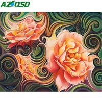 Wholesale flower art handmade paintings for sale - Group buy wall art Oil Painting By Numbers Flower On Canvas For Adult DIY Handmade Gift Drawing By Number Floral Abstract Art Full Kits