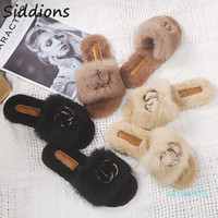 Wholesale feather slippers for sale - Group buy 2020 Shoes Women Designers Winter Shoes Woman Feather Flats Fur Slippers Peep Toe Mules Lady Pumps Slides Big Size l03