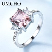 Wholesale morganite rings for sale - Group buy UMCHO Solid Sterling Silver Cushion Morganite Gemstone Rings For Women Engagement Anniversary Band Valentine s Gift Ring Set C0924