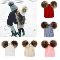 Wholesale soft baby wool for sale - Group buy Children Baby Knitted Wool Hats Winter Knitted Solid Crochet Hat Warm Soft Pom Pom Beanies Double Hairball Hats Outdoor Slouchy Caps M2848