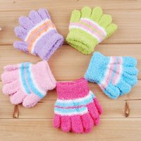 Wholesale coral gloves for sale - Group buy Coral Fleece Warm Gloves Children Winter Warm Finger Gloves Baby Fingers Warm Gloves Colorful Stripe Mittens M2820