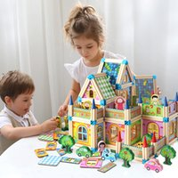 Wholesale castle blocks resale online - Children s multi functional building blocks wooden three dimensional model to hold the castle parent child interactive educational toys