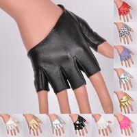 Wholesale women fingerless motorcycle gloves resale online - Women s gloves sexy half palm fingerless gloves Women jazz dance ds PU leather semi finger motorcycle