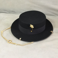 Wholesale wool pin resale online - Black cap female British wool hat fashion party flat top hat chain strap and pin fedoras for woman for a street style shooting