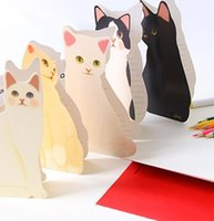 Wholesale free paper birthday cards for sale - Group buy Cute Home Greeting Birthday Shipping Creative Envelope Card Cat Fashion New Free Standing Wedding Paper With ABC2007 FOPNS