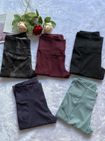 Wholesale workout clothes resale online - Women Two Pocket Fitness Leggings Cropped Yoga Pants Tights High Waist Running Capris Workout Gym Clothing Sports Wear