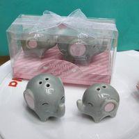 Wholesale baby shower ceramic favors for sale - Group buy Baby Shower Favors And Christening Gifts Little Peanut Ceramic Cruet Jar Elephant Salt Pepper Shaker Lz0245