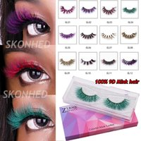 Wholesale halloween eyelash extensions for sale - Group buy 1 Pair D Mink Hair Criss cross Wispies Fluffy False Eyelashes Handmade Natural Halloween Multicolor Fake Lashes Extension