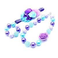 Wholesale baby chunky necklace sets resale online - Fashion Design Necklace Bracelet Headband Set Birthday Party Gift For Toddlers Girls Bubblegum Baby Kids Chunky Necklace Jewelry Set