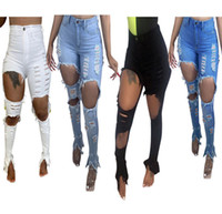 Wholesale lady s fashion jeans for sale - Group buy Desinger Women Jeans Hole High Waisted Skinny Denim Stretch Slim Pants Calf Length Jeans Bell Bottom Ladies Fashion Women Trousers