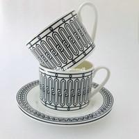 Classic Bone China Coffee cup and sacuer Black line Ceramic afternoon tea Cup High-end Pocelain Coffee Set Fashional drinkware Birthday gift