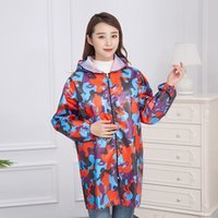 Wholesale kitchen apron sleeves resale online - Fashion Waterproof Kitchen Apron Unisex Long Sleeve Gown Camouflage Oil proof Men Adult OverallsZipper Household Kitchen Clothes