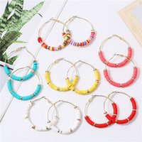 Wholesale polymer clay jewelry earrings for sale - Group buy Colorful Polymer Clay Hoop Earrings For Women Bohemia Clay Beads Hoop Earring Party Jewelry Accessories
