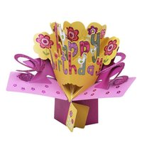 Wholesale 3d happy birthday greetings card for sale - Group buy 3D Happy Birthday with Flowers Up Greeting Card Handmade Gift Card for Birthday Blessing