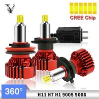 Wholesale h1 cree bulb resale online - Six side Illuminate H7 H1 H11 LED Headlight Bulb Kit CREE Chip v k AutoLamp Accessories