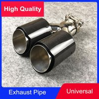 Wholesale fiber pipes for sale - Group buy Y Model Dual Equal Length Rear Exhaust Tip Shiny Carbon Fiber Tail Muffler End Pipes Car Universal Modification
