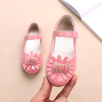 rhinestone princess flat shoes 2021 - Girls Leather Shoes Autumn Flower Rhinestone Flat Princess Shoes Children Girls Casual Sneakers Baby Girl SP088