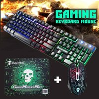ingrosso tastiera-2400DPI LED Gaming Mouse bordo chiave USB cablata Tastiera ergonomica colorato Set Backlight Combo con Gaming Mouse Pad retroilluminato