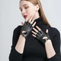 Wholesale women fingerless motorcycle gloves resale online - Gours Spring Winter Genuine Leather Gloves Women Hand Fingerless Gloves Fashion Driving Motorcycle Warm Unlined Mittens GSL058