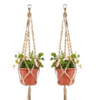 Wholesale indoor hanging planters resale online - Plant Hangers Macrame Rope Pots Holder Rope Wall Hanging Planter Hanging Basket Plant Holders Indoor Flowerpot Baskets Lifting DHC369