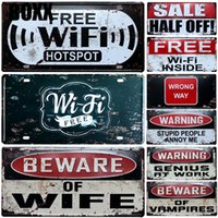 Wholesale car free arts resale online - Hot Free WiFi Hotspot Metal Car Plate Vintage Home Decor Tin Sign Bar Pub Hotel Decorative Metal Sign Art Painting Metal Plaque