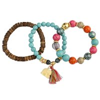 Wholesale idealway resale online - idealway Charming Multilayer set Bohemian Fashion Vintage Style Wooden Turquoise Handmade Strength Beaded Bracelet Set