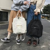 Wholesale cute bags teens resale online - Casual Canvas Backpack Women Harajuku Large Capacity School Bags Lady Travel Bags Teen Girls Solid Color Bookbags Cute Backpack