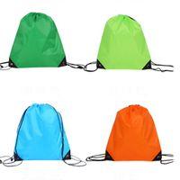 Wholesale portable bag handles resale online - Portable D210 Polyester Drawstring Backpack Solid Color Sports Fashion String Folding Drawstring Bags Storage Handle Bags VT1628