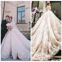 Wholesale michael cinco for sale - Group buy Luxurious Lace Appliques Michael Cinco Castle Church Wedding Dresses A Line D Floral Adorned Beaded Cathedral Train Bridal Gowns AQ133