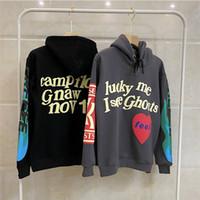 Wholesale kids wool hoodie for sale - Group buy Kids Ghost D Foam printing West Hoodie Men Women Cotton lucky me l See ghos Pullover Kanye Red Heart Feel Sweatshirts