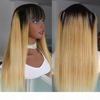 Wholesale long blonde human hair wig bangs resale online - Drak Roots Honey Blonde Straight Wig With Bangs For Black Women Cheap Malaysian Remy Human Hair Non Lace Wig Full B Colored Glueless Wig
