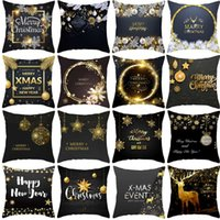 Wholesale hug pillow resale online - QIFU Peach Skin Black Gold Christmas Hug Pillowcase Cushion Cover Christmas Decorations For Home Sofa Pillow Case New Year