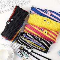 Wholesale shcool bags resale online - 14 Colors Cute Novelty Candy Colors Zipper Monsters Pencil Bag Girl Boys School Pen Bag Shcool Material Lx2175