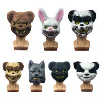 masque animal lapin achat en gros de-Lapin Lapin Scary Halloween Masque effrayant Spooky animal en peluche d'ours panda Coiffe Masque Parti mascarade cosplay Horriable Props VT1595